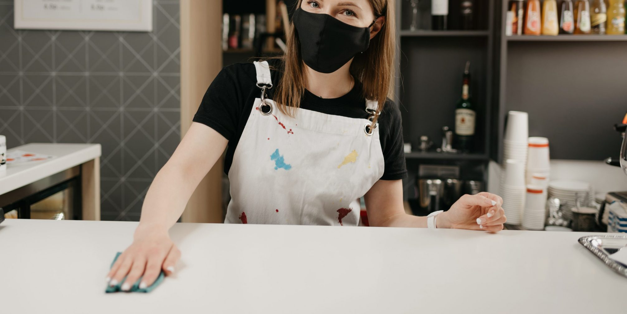 disinfecting a cafe